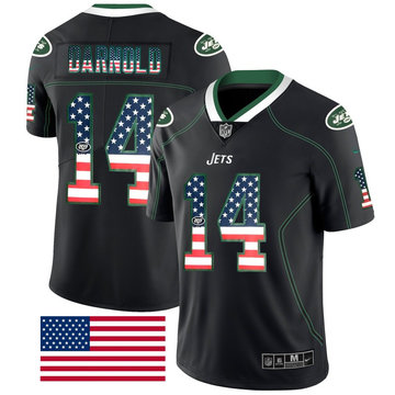 Nike Jets 14 Sam Darnold Black USA Flag Fashion Limited Jersey