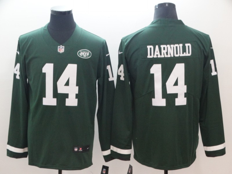 Nike Jets 14 Sam Darnold Green Therma Long Sleeve Jersey