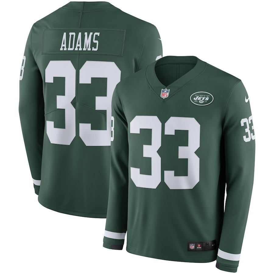 Nike Jets 33 Jamal Adams Green Therma Long Sleeve Jersey