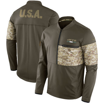 Nike Jets Olive Salute to Service Sideline Hybrid Half-Zip Pullover Jacket