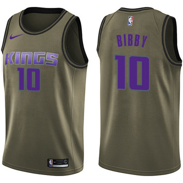 Nike Kings #10 Mike Bibby Green Salute to Service NBA Swingman Jersey