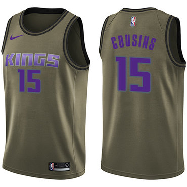 Nike Kings #15 DeMarcus Cousins Green Salute to Service NBA Swingman Jersey