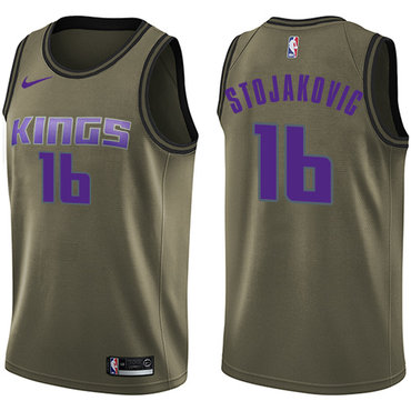 Nike Kings #16 Peja Stojakovic Green Salute to Service NBA Swingman Jersey