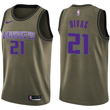 Nike Kings #21 Vlade Divac Green Salute to Service NBA Swingman Jersey