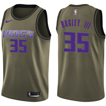 Nike Kings #35 Marvin Bagley III Green NBA Swingman Salute to Service Jersey