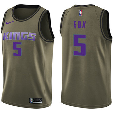 Nike Kings #5 De'Aaron Fox Green Salute to Service NBA Swingman Jersey