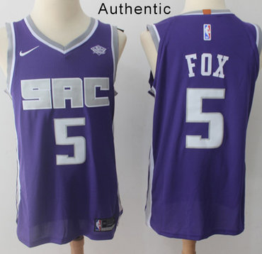 Nike Kings #5 De'Aaron Fox Purple NBA Authentic Icon Edition Jersey