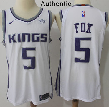 Nike Kings #5 De'Aaron Fox White NBA Authentic Association Edition Jersey