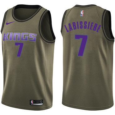 Nike Kings #7 Skal Labissiere Green Salute to Service NBA Swingman Jersey