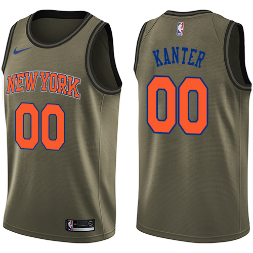 Nike Knicks #00 Enes Kanter Green Salute to Service NBA Swingman Jersey