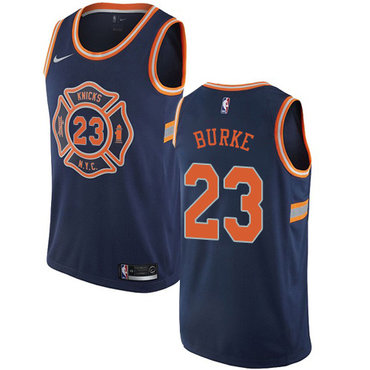 Nike Knicks #23 Trey Burke Navy NBA Swingman City Edition Jersey