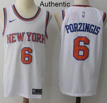 Nike Knicks #6 Kristaps Porzingis White NBA Authentic Association Edition Jersey