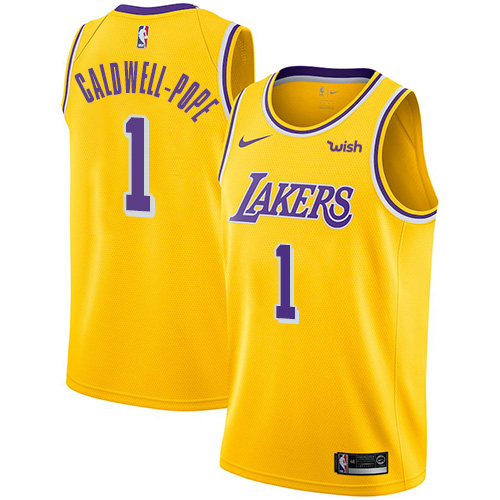Nike Lakers #1 Kentavious Caldwell-Pope Gold NBA Swingman Icon Edition Jersey