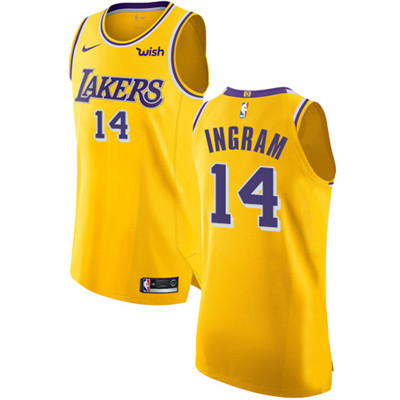 Nike Lakers #14 Brandon Ingram Gold NBA Authentic Icon Edition Jersey