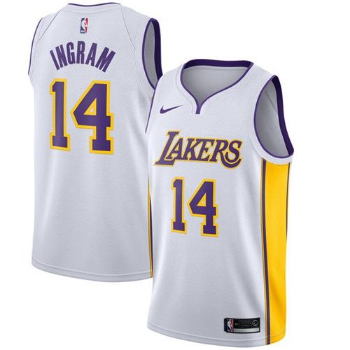 Nike Lakers #14 Brandon Ingram White NBA Swingman Association Edition Jersey