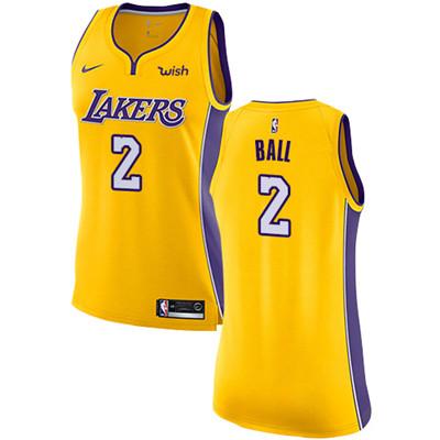 Nike Lakers #2 Lonzo Ball Gold Women's NBA Swingman Icon Edition Jersey