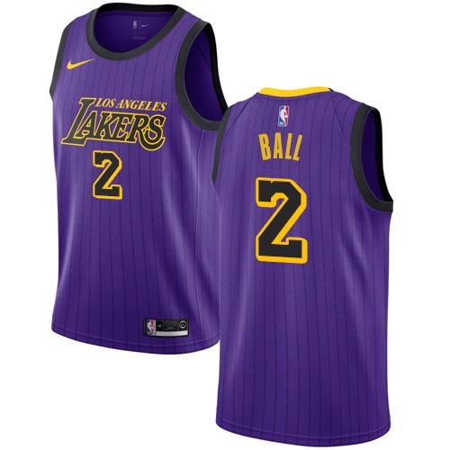 Nike Lakers #2 Lonzo Ball Purple NBA Swingman City Edition 2018 19 Jersey