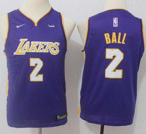 Nike Lakers #2 Lonzo Ball Purple Statement Edition Youth NBA Swingman Jersey