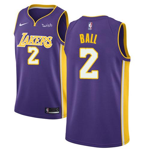 Nike Lakers #2 Lonzo Ball Purple Youth NBA Swingman Statement Edition Jersey