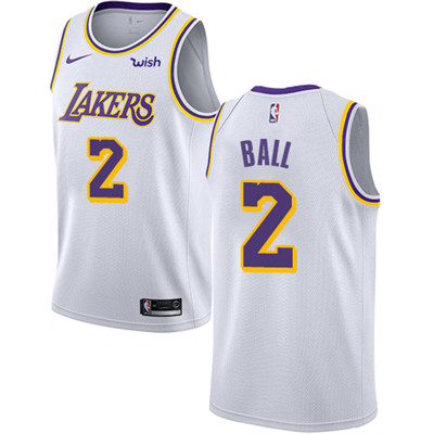Nike Lakers #2 Lonzo Ball White NBA Swingman Association Edition Jersey