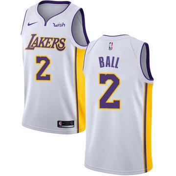 Nike Lakers #2 Lonzo Ball White Youth NBA Swingman Association Edition Jersey