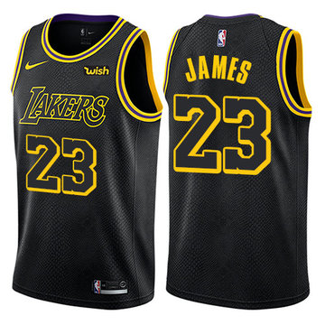Nike Lakers #23 LeBron James Black NBA Swingman City Edition Jersey