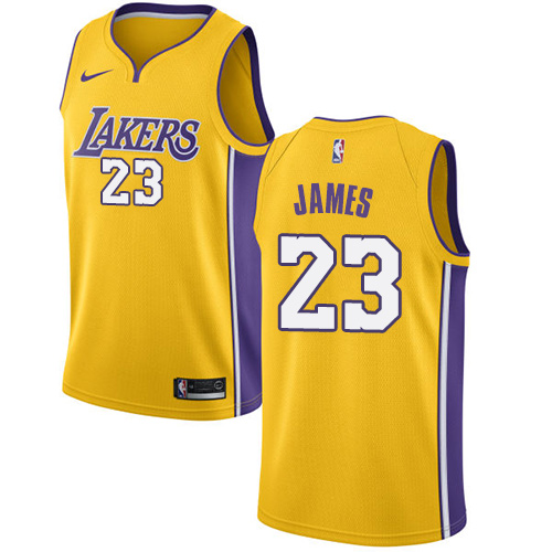 Nike Lakers #23 LeBron James Gold NBA Swingman Icon Edition Jersey