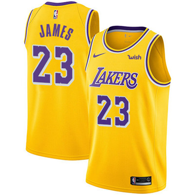 Nike Lakers #23 LeBron James Gold Youth NBA Swingman Icon Edition Jersey
