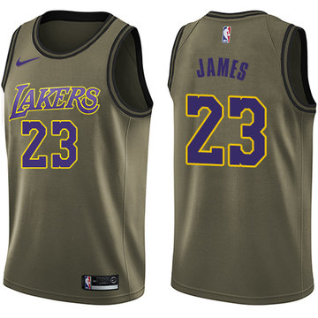 Nike Lakers #23 LeBron James Green NBA Swingman Salute to Service Jersey