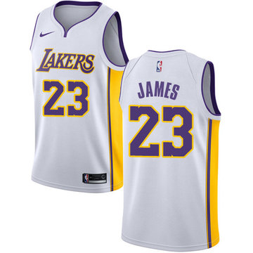 Nike Lakers #23 LeBron James White NBA Swingman Association Edition Jersey
