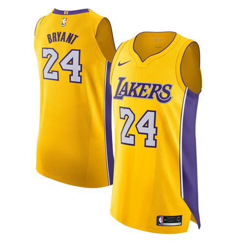 Nike Lakers #24 Kobe Bryant Gold NBA Authentic Icon Edition Jersey