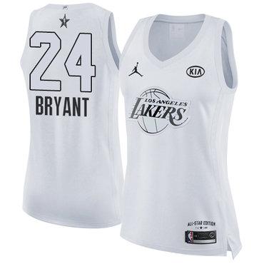 Nike Lakers #24 Kobe Bryant White Women's NBA Jordan Swingman 2018 All-Star Game Jersey