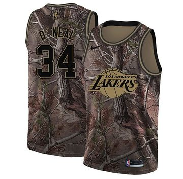 Nike Lakers #34 Shaquille O'Neal Camo Women's NBA Swingman Realtree Collection Jersey