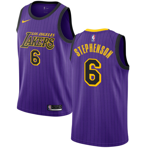 Nike Lakers #6 Lance Stephenson Purple NBA Swingman City Edition 2018 19 Jersey