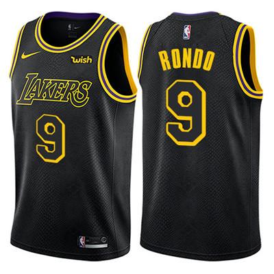 Nike Lakers #9 Rajon Rondo Black NBA Swingman City Edition Jersey