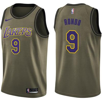 Nike Lakers #9 Rajon Rondo Green NBA Swingman Salute to Service Jersey