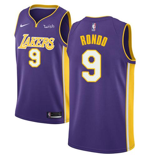 Nike Lakers #9 Rajon Rondo Purple Youth NBA Swingman Statement Edition Jersey