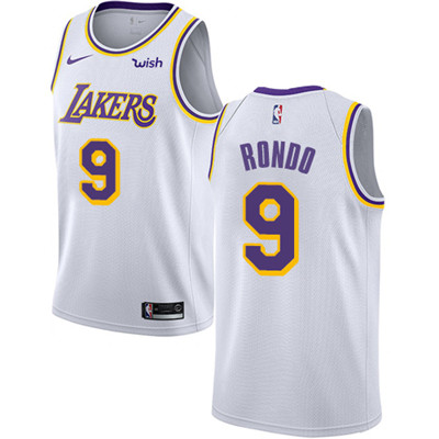 Nike Lakers #9 Rajon Rondo White NBA Swingman Association Edition Jersey