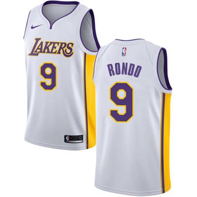 Nike Lakers #9 Rajon Rondo White NBA Swingman Association Edition Jersey
