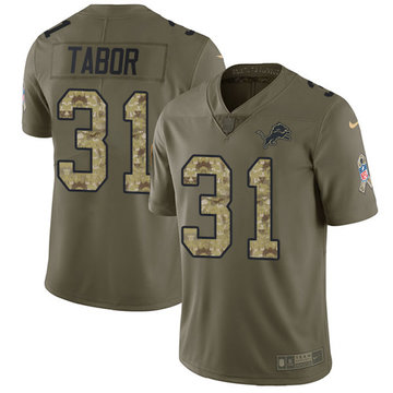 Nike Lions #31 Teez Tabor Olive Camo Men's Stitched NFL Limited 2017 Salute To Service Jersey