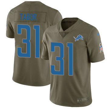 Nike Lions #31 Teez Tabor Olive Men's Stitched NFL Limited 2017 Salute to Service Jersey