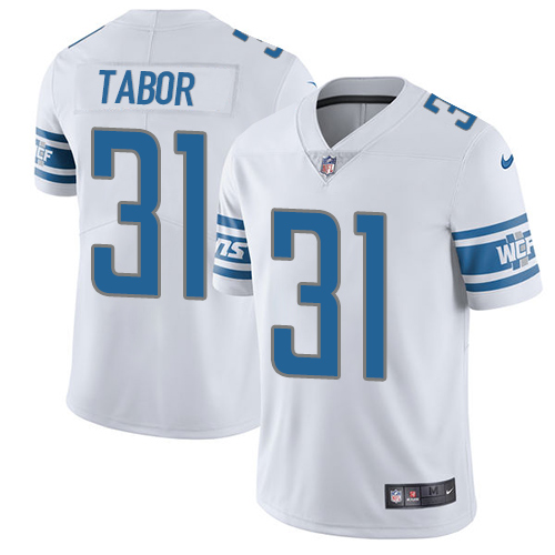 Nike Lions #31 Teez Tabor White Men's Stitched NFL Vapor Untouchable Limited Jersey