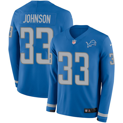 Nike Lions #33 Kerryon Johnson Blue Team Color Men's Stitched NFL Limited Therma Long Sleeve Jersey