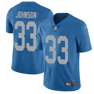 Nike Lions #33 Kerryon Johnson Blue Throwback Youth Stitched NFL Vapor Untouchable Limited Jersey