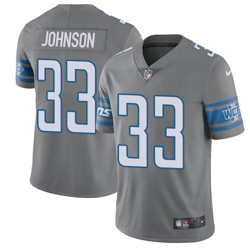 Nike Lions #33 Kerryon Johnson Gray Youth Stitched NFL Limited Rush Jersey