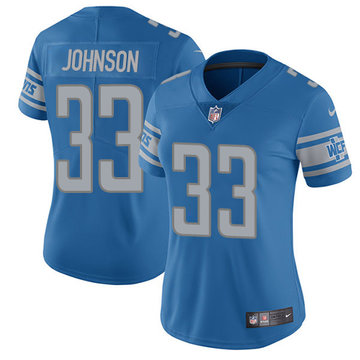 Nike Lions #33 Kerryon Johnson Light Blue Team Color Women's Stitched NFL Vapor Untouchable Limited Jersey