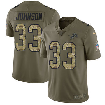 Nike Lions #33 Kerryon Johnson Olive Camo Youth Stitched NFL Limited 2017 Salute to Service Jersey