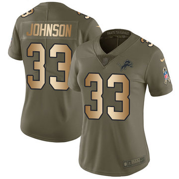 Nike Lions #33 Kerryon Johnson Olive Gold Women's Stitched NFL Limited 2017 Salute to Service Jersey