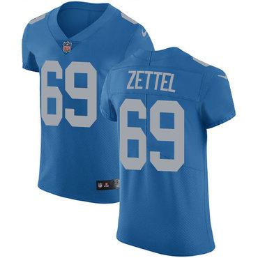 Nike Lions #69 Anthony Zettel Blue Throwback Men's Stitched NFL Vapor Untouchable Elite Jersey