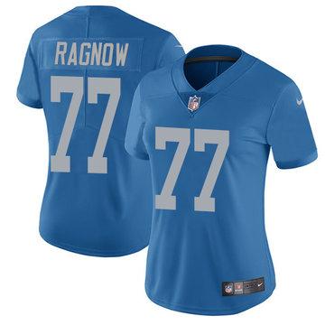 Nike Lions #77 Frank Ragnow Blue Throwback Women's Stitched NFL Vapor Untouchable Limited Jersey